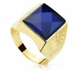 Sello oro 18k caballero piedra 14x12mm espinela azul tallado [AB8748]