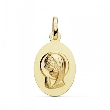 Medalla oro 18k Virgen Niña 19mm. oval colgante [AB8760]