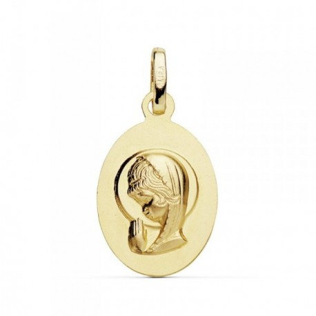 Medalla oro 18k Virgen Niña 19mm. oval colgante [AB8760GR]