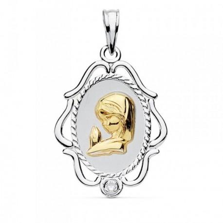 Medalla oro 18k Virgen Niña 23mm. bicolor borde [AB8776]