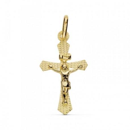 Colgante oro 18k cruz crucifijo Cristo realce 22mm. cruz tallada ancho 13mm. unisex