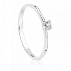 Solitario oro blanco 18k diamante 0.100ct. [AB8782]