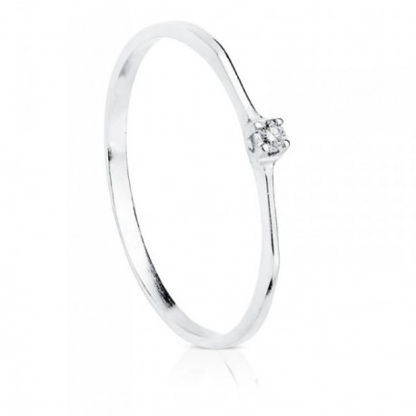 Solitario oro blanco 18k diamante 0.030ct. [AB8784]