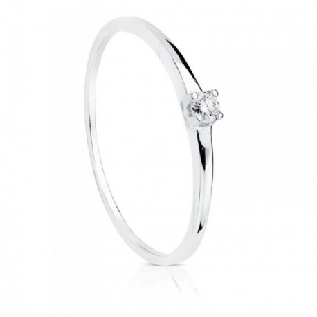 Solitario oro blanco 18k diamante 0.055ct. [AB8785]