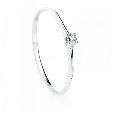 Solitario oro blanco 18k diamante 0.055ct. [AB8786]