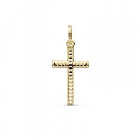 Colgante oro 18k cruz 18mm. tallada muecas brillo unisex