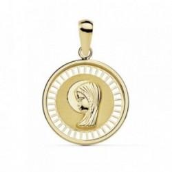 Medalla oro 18k Virgen Niña 18mm. cerco calado [AB8800]