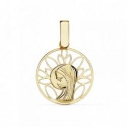 Medalla oro 18k Virgen Niña 16mm. calado cerco [AB8801]