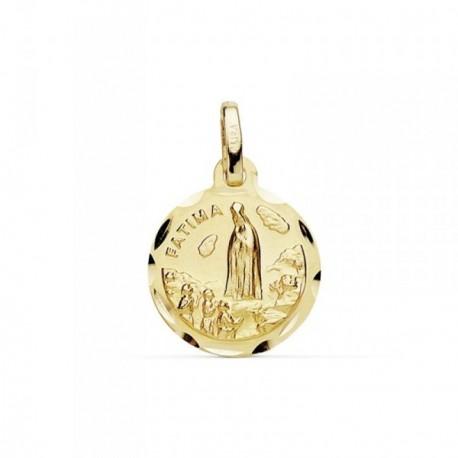 Medalla oro 18k Virgen de Fátima 12mm. cerco tallado [AB8802]