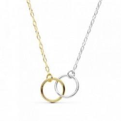 Gargantilla oro 18k bicolor cadena 42cm. motivo doble aro [AB8803]