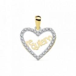 Colgante oro 18k corazón 15mm.TE QUIERO cerco circonitas [AB8807]