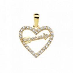 Colgante oro 18k corazón 15mm. flecha circonitas [AB8808]
