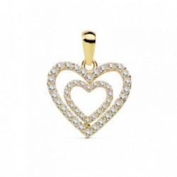 Colgante oro 18k doble corazón 15mm. circonitas [AB8809]