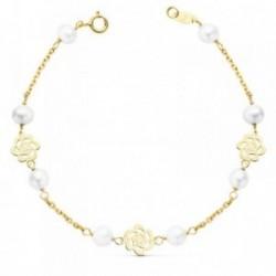 Pulsera oro 18k comunión 17cm. niña flores caladas perlas [AB8810]