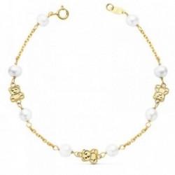 Pulseras oro 18k primera comunión 17cm. niña ositos perlas cultivadas cierre reasa