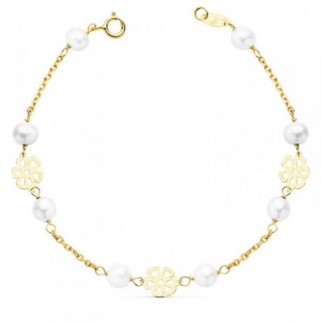 Pulsera oro 18k comunión 17cm. niña perlas flores caladas [AB8812]