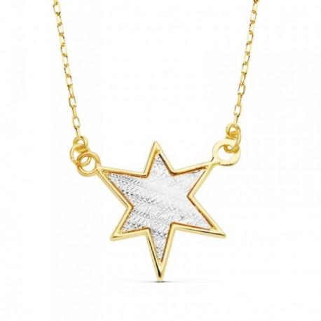 Colgante oro 18k bicolor cadena forzada 42cm. estrella 16mm. [AB8823]
