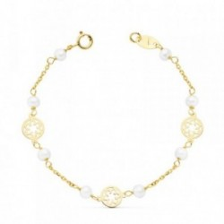 Pulsera oro 18k niña 13cm. perlas flores 5mm. cerco [AB8824]