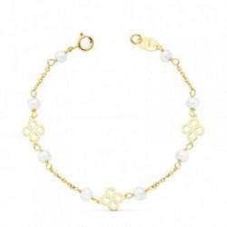 Pulsera oro 18k niña 13cm. perlas entrepieza trébol [AB8825]