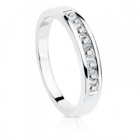 Sortija oro blanco 18k brillantes diamantes 0.24ct. [AB8846]