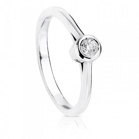 Solitario oro blanco 18k brillante diamante 0.10ct. [AB8847]