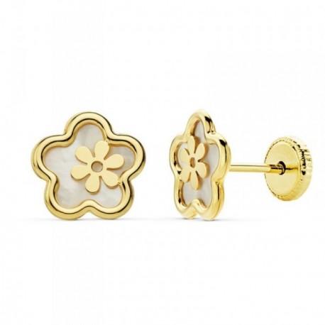 Pendientes oro 18k flor 8mm. niña nácar centro motivo flor [AB8856]