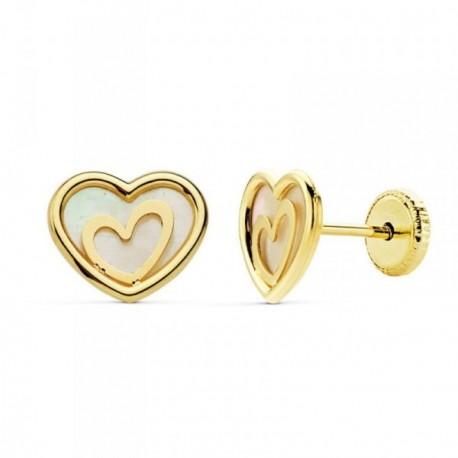 Pendientes oro 18k corazón 9mm. nácar centro motivo corazón [AB8857]