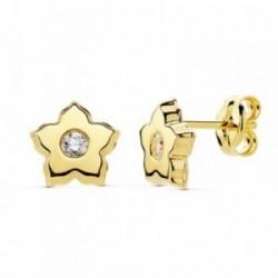 Pendientes oro 18k flor 7mm. centro circonita [AB8859]