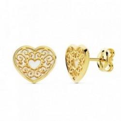 Pendientes oro 18k corazón 9mm. nácar motivos [AB8860]