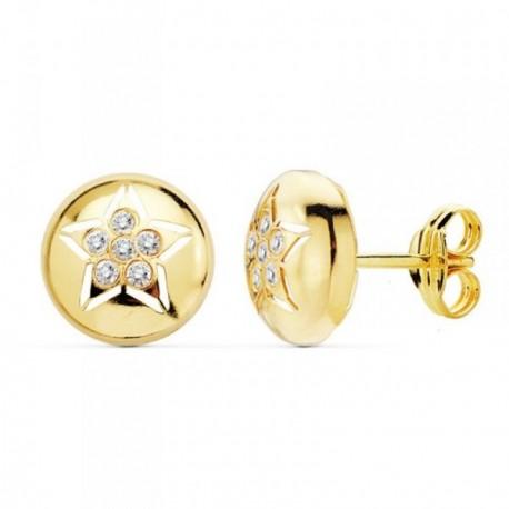 Pendientes oro 18k redondos 8.5mm. estrella circonitas [AB8865]