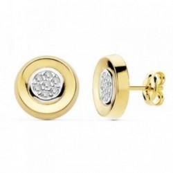 Pendientes oro 18k bicolor 10mm. circonitas redondos [AB8870]