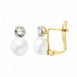 Pendientes oro 18k perlas botón sintéticas 6mm. circonitas 4mm. cierre palillo catalán