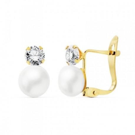 Pendientes oro 18k perlas cultivadas 6mm. circonitas 4mm. [AB8879]