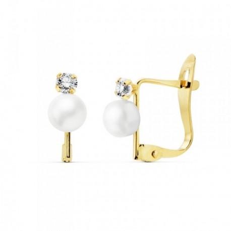 Pendientes oro 18k perlas cultivadas 4.5mm. circonitas 2.5mm [AB8881]