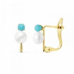Pendientes oro 18k perlas cultivadas 4.5mm. bola azul 2.5mm. [AB8882]