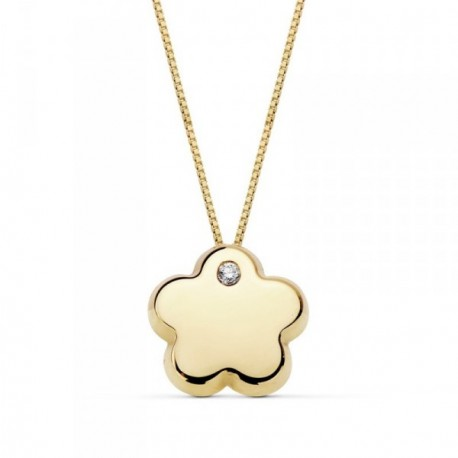 Colgante oro 18k cadena 42cm. flor 9mm. lisa circonita [AB8890]