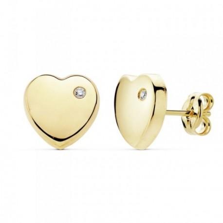 Pendientes oro 18k corazón 8mm. lisos circonita [AB8893]