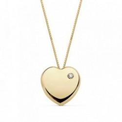 Colgante oro 18k cadena corazón 10mm. liso circonita [AB8894]