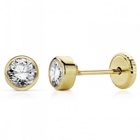 Pendientes oro 18k niña 4mm. circonita redondos cierre tornillo