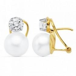 Pendientes oro 18k bicolor 16mm. perla cultivada circonita [AB8905]
