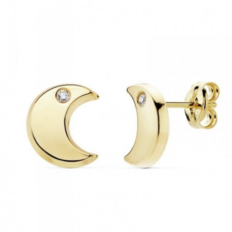 Pendientes oro 18k media luna 9mm. lisa circonita [AB8909]