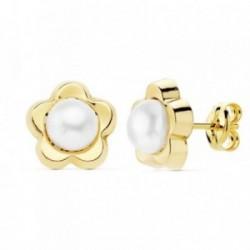 Pendientes oro 18k flor 9mm. perlas cultivadas [AB8913]
