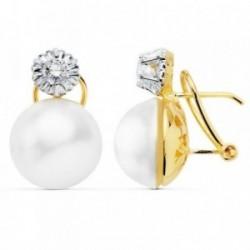 Pendientes oro 18k bicolor 19mm. perlas japonesas circonita [AB8916]
