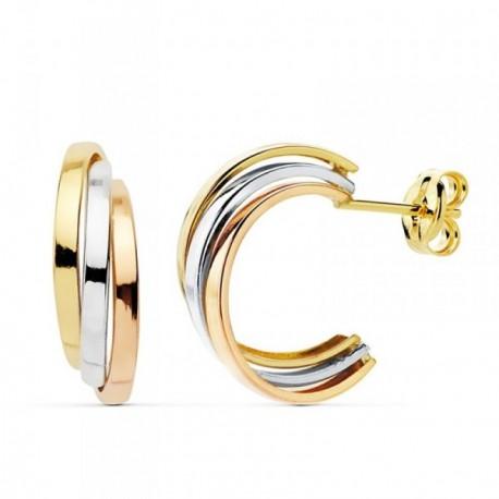 Pendientes oro 18k tricolor 15mm. bandas curva [AB8918]