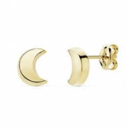 Pendientes oro 18k media luna 6.5mm. lisa [AB8921]