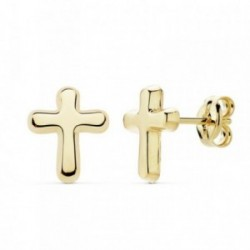 Pendientes oro 18k motivo cruz 9mm. lisa [AB8923]