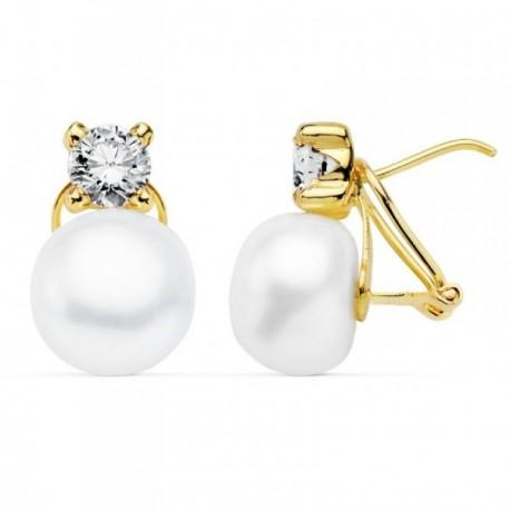 Pendientes oro 18k 16mm. perla cultivada botón circonita [AB8926]