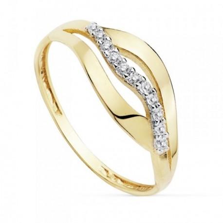 Sortija oro 18k bicolor circonitas ancho cuerpo 1.5mm. [AB8938]
