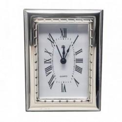 Reloj despertador plata Ley 925m trasera madera rombos [AB5955]