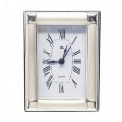 Reloj despertador plata Ley 925m brillo trasera madera [AB5956]